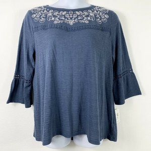 Style Co XXL Knit Top Embroidered Floral Blue